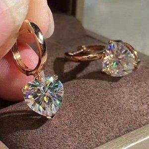 NEW 18K Rose Gold Diamond Heart Hoop Earrings